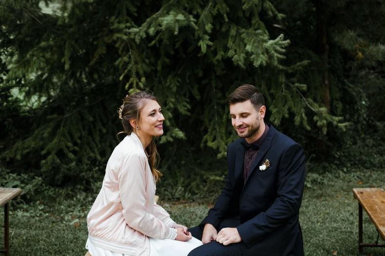 arche cérémonie mariage automne couple