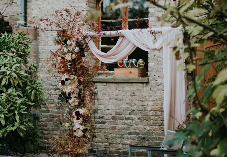 arche bouleau fleurs automne mariage rose de jardin strasbourg