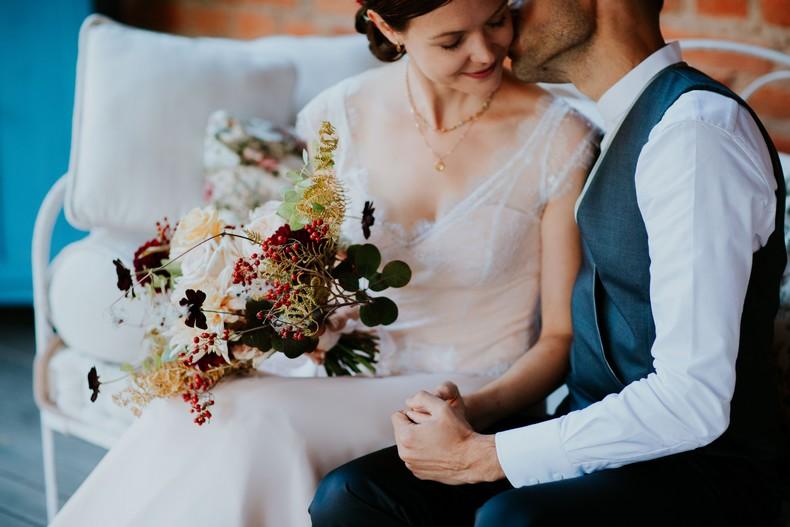 bouquet mariée rose de jardin couleur pastel marsala
