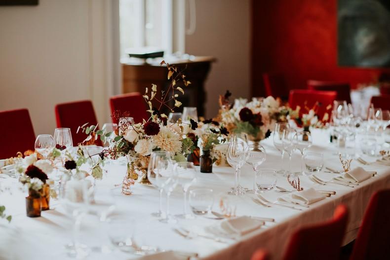 centre de table mariage couleur automne capucine atelier floral alsace