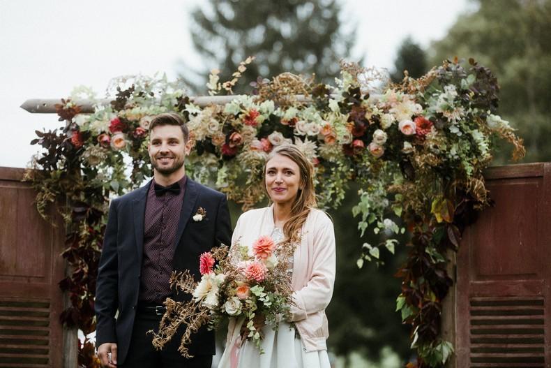 arche cérémonie mariage automne rose david austin alsace capucine atelier floral
