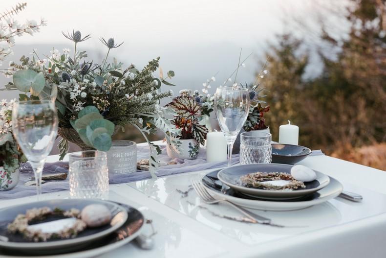 mariage hivernal feuillage eucalyptus gris bleute fleuriste alsace