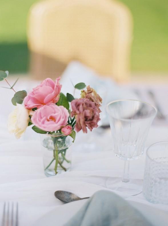 decoration fleur rose mariage table bas rhin