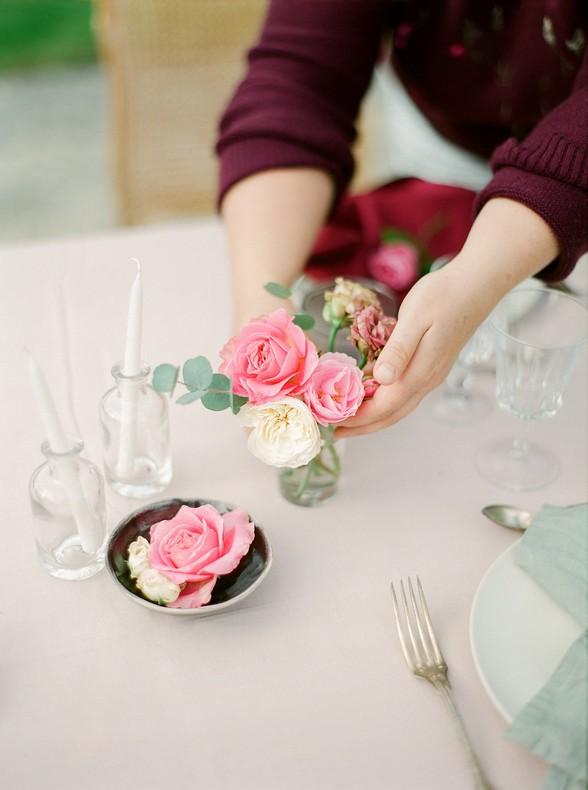 decoration florale table rose romantique mariage alsace