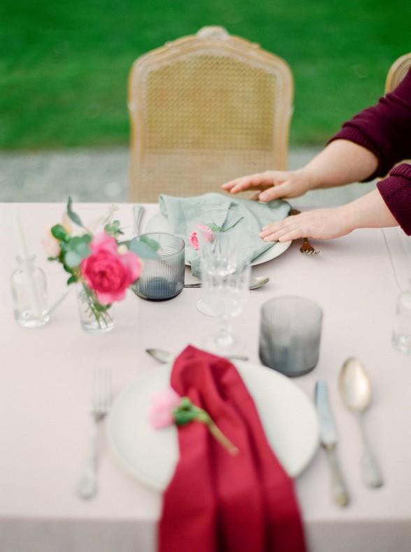 decoration florale table rose romantique mariage bas rhin
