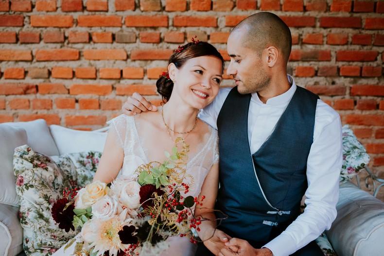 bouquet mariée rose de jardin couleur pastel marsala fleuriste luxembourg