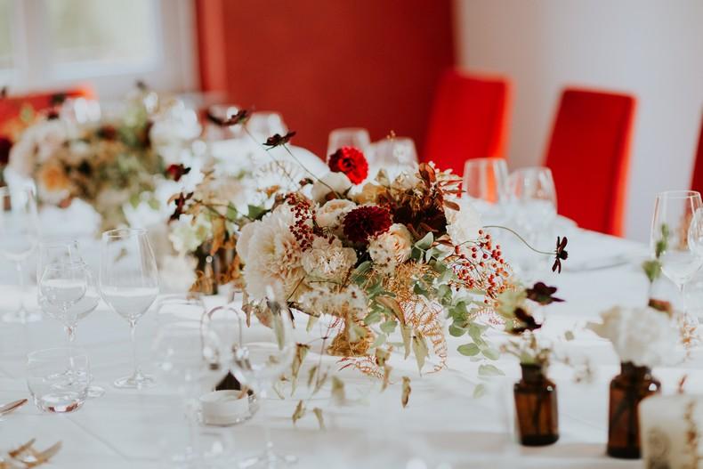 centre de table mariage couleur automne capucine atelier floral