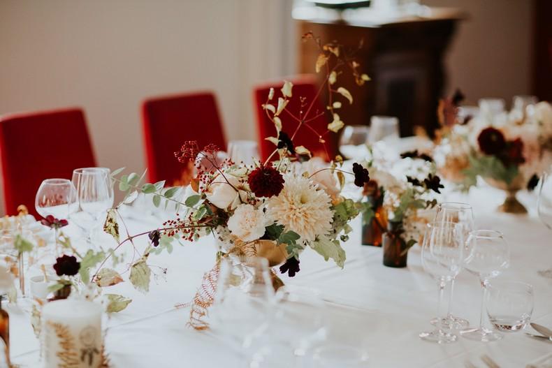 composition florale mariage couleur automnale fleuriste wedding design france