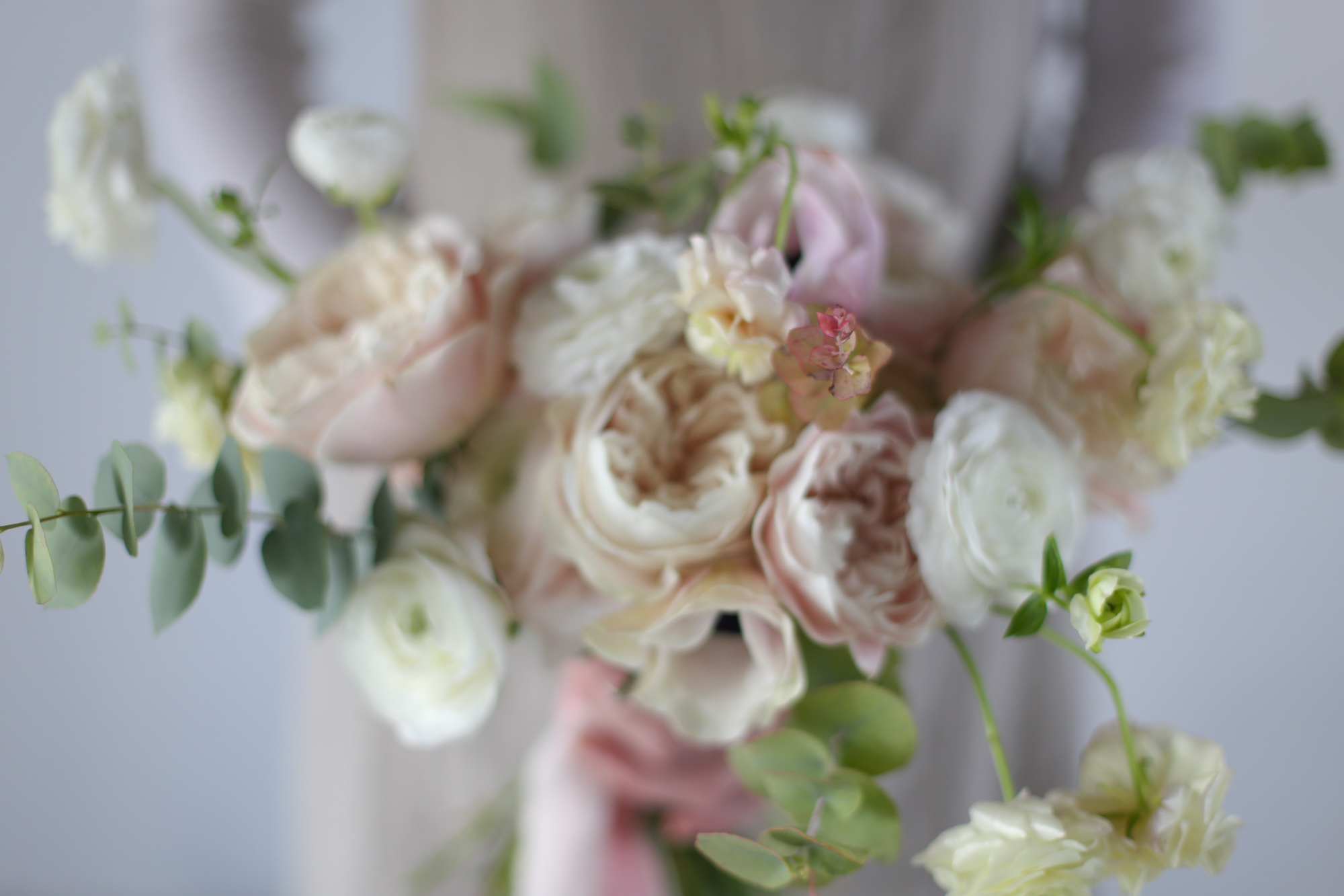 Bouquet de mariée naturel rose pastel